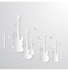 Music Background Guitars and Notes Made from Paper vector image vector image