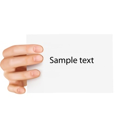 paper card in hand vector image vector image