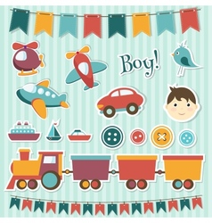 Scrapbook baby boy set vector image vector image