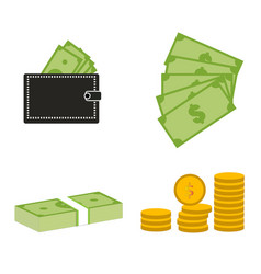 set moneydollars and coins on white background vector image vector image