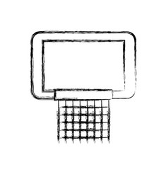 Sketch draw basketball hoop vector