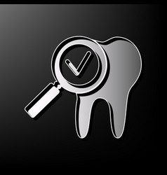 Tooth icon with arrow sign gray 3d vector
