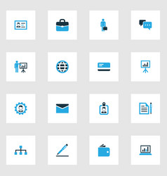 Trade colorful icons set collection of whiteboard vector