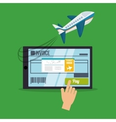 travel smartphone ticket invoice airplane buy vector image