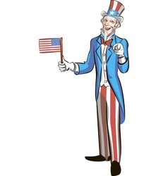 uncle sam in full growth hold small american flag vector image