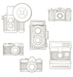 Vintage photo cameras set vector image