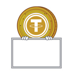 With board tether coin character cartoon vector