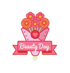 World beauty day greeting emblem vector