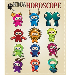 Zodiac signs with cute ninja characters vector