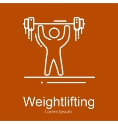 Weightlifting icon sportsman with barbell strong vector