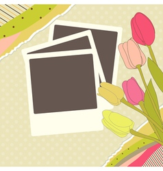 Photo with tulips vector image