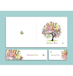 Business card collection abstract floral tree vector
