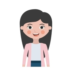 Half body woman smiling with jacket vector