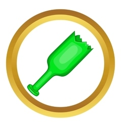 Broken green bottle as weapon icon vector