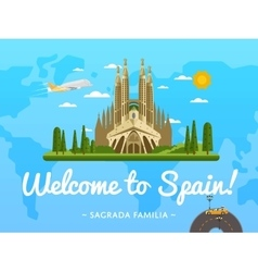 Welcome to spain poster with famous attraction vector