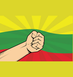Lithuania fight protest symbol with strong hand vector