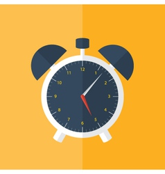 White alarm clock icon over orange vector