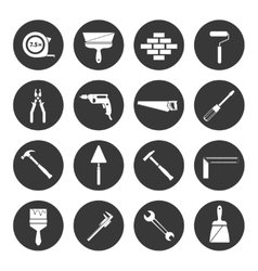 Builder instruments icons black vector