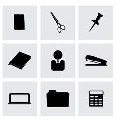 Black office icons set vector