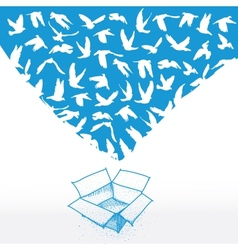 Doodle box sketch flying dove for peace concept vector
