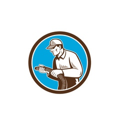 Home insulation technician retro circle vector