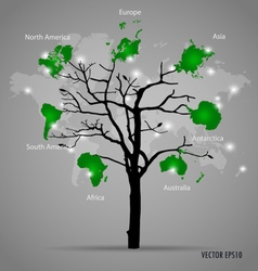Tree shaped world map vector