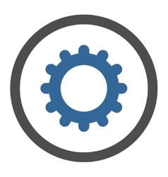 Gear flat cobalt and gray colors rounded vector