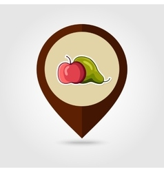 Apple and pear mapping pin icon vector