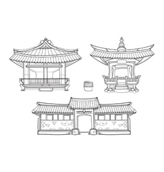 Hanok korean traditional architecture vector