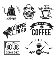 Coffee related labels badges and design elements vector