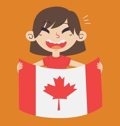 Cartoon girl holding a canada flag vector