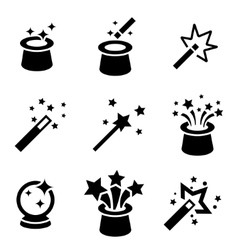 Black magic icons set vector