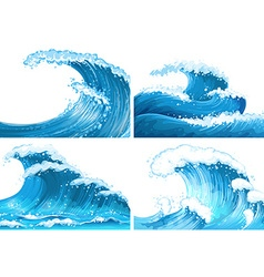 Four scenes of ocean waves vector
