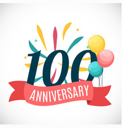 Anniversary 100 years template with ribbon vector