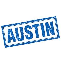 Austin blue square grunge stamp on white vector