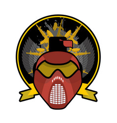 battle logo paintball helmet and weapons military vector image vector image