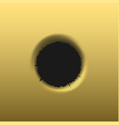 bullet hole in golden background vector image