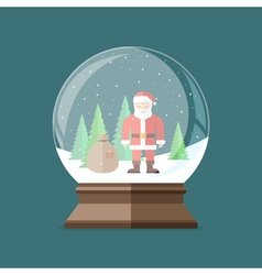 Christmas snow globe with Santa Claus inside Flat vector image