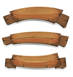 comic wood banners and ribbons vector image vector image