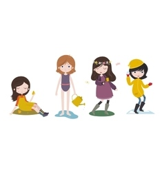 Cute cartoon girls and the four seasons vector image vector image