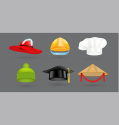 Different kind of fashion hat modern elegance cap vector