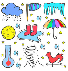 Doodle of weather set style vector
