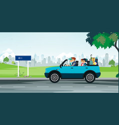 family driving vector image vector image