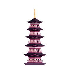 flat cartoon japan pagoda icon vector image