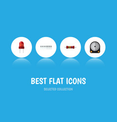 Flat icon appliance set of hdd memory recipient vector
