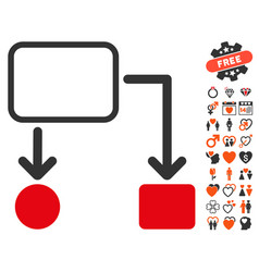 Flowchart scheme icon with lovely bonus vector