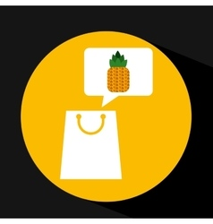 grocery shopping bag pineapple fruit design vector image