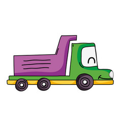 Kawaii smile dump truck industry vector