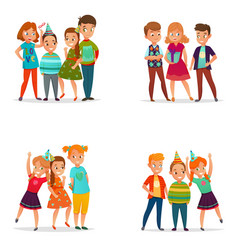 playing kids 4 cartoon icons vector image