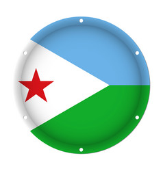 round metallic flag of djibouti with screw holes vector image vector image